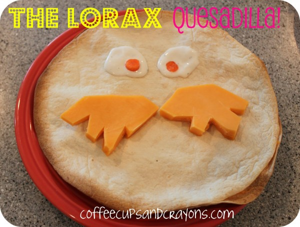 Make some Lorax themed food for Dr. Seuss Day! My kids loved this Lorax quesadilla!