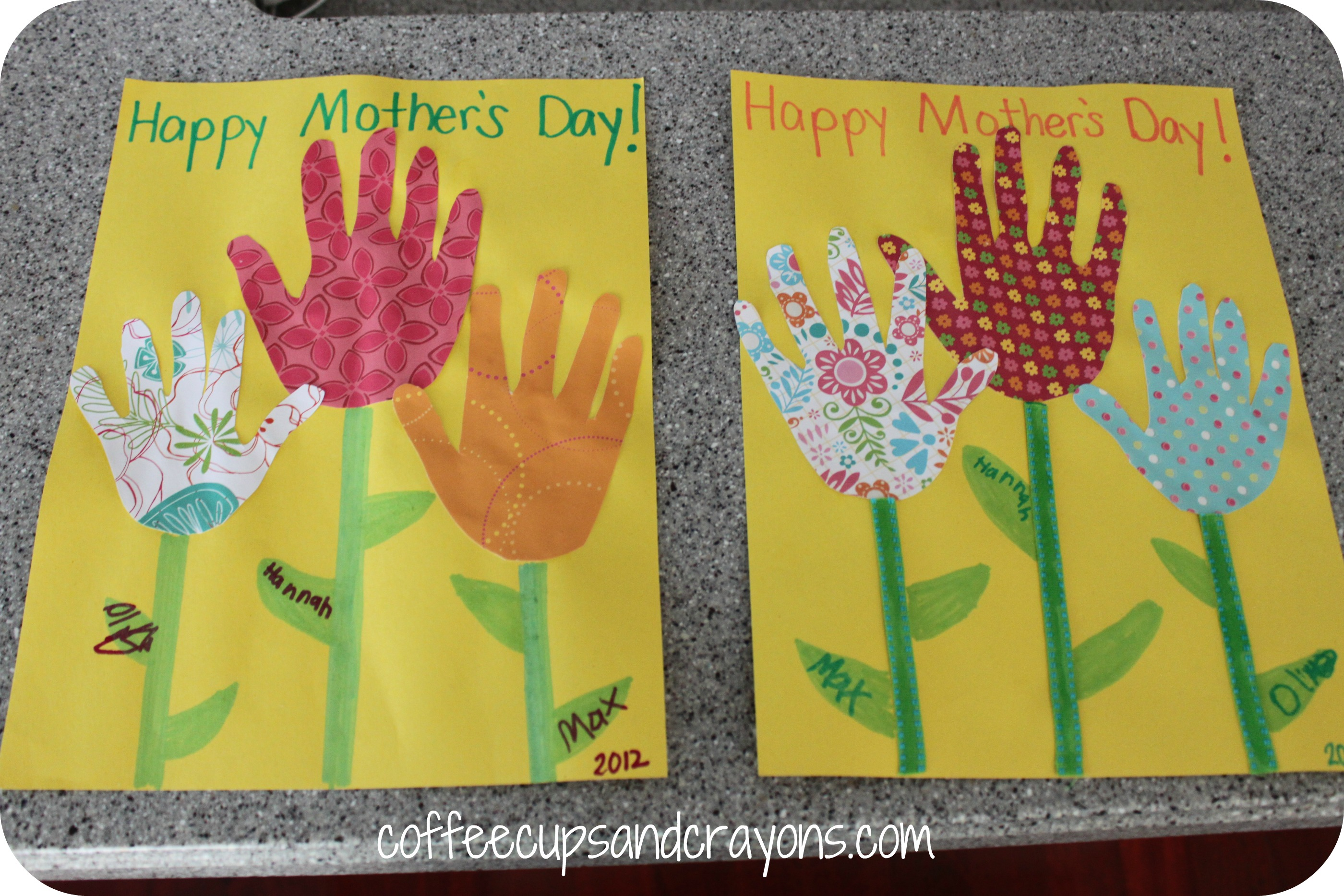 Mother 39 s day card and a money flower coffee cups and crayons for Mothers day cards from preschoolers