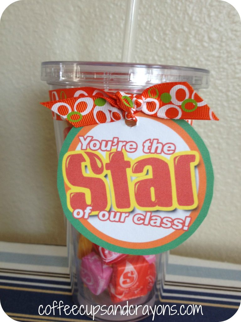 We made a special candy filled cold cup for the Kindergarten aide ...
