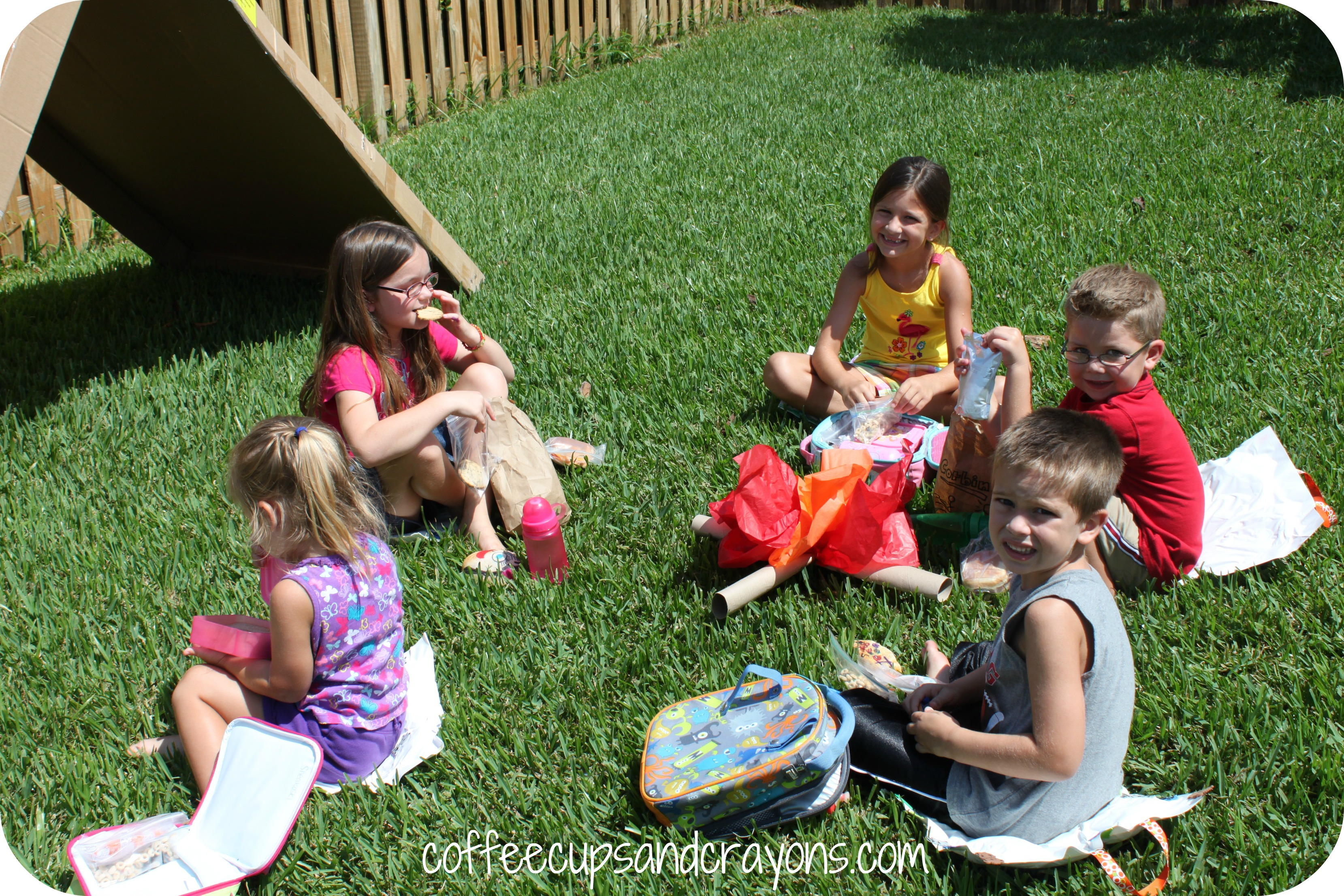 camping themed kids activities coffee cups and crayons
