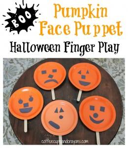 Pumpkin Face Finger Play and Puppet for Halloween