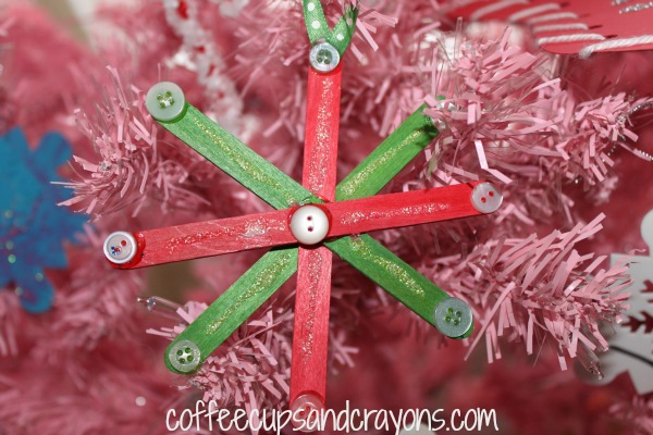 Easy Kids Craft: Craft Stick and Button Snowflake Ornaments