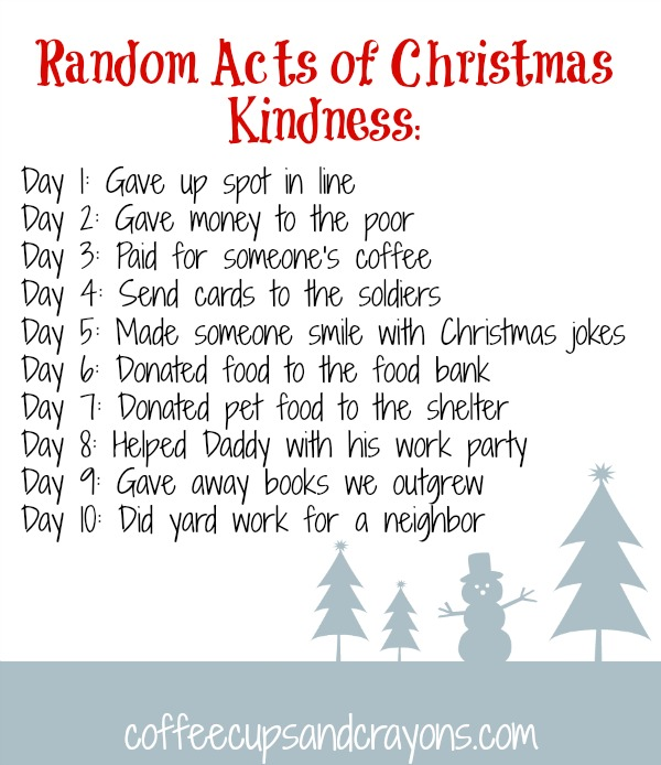 10 Random Acts of Christmas Kindness for Kids