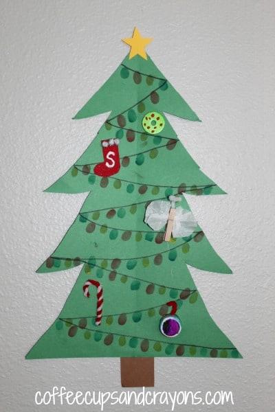 how to make finger print christmas tree lights - Mini Christmas Tree Lights