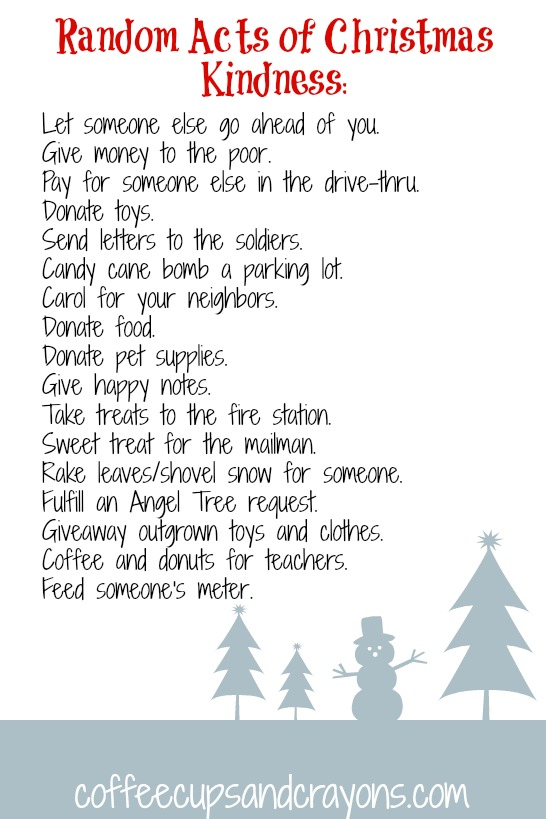 Advent Calendar Activities: Random Acts of Christmas Kindness