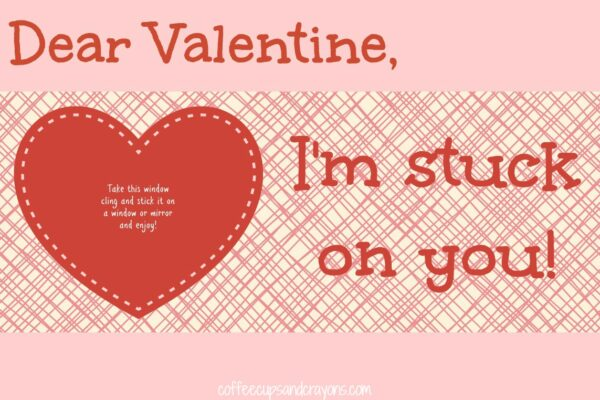 Pink Stuck on You Valentine for Kids: Free Printable Cards
