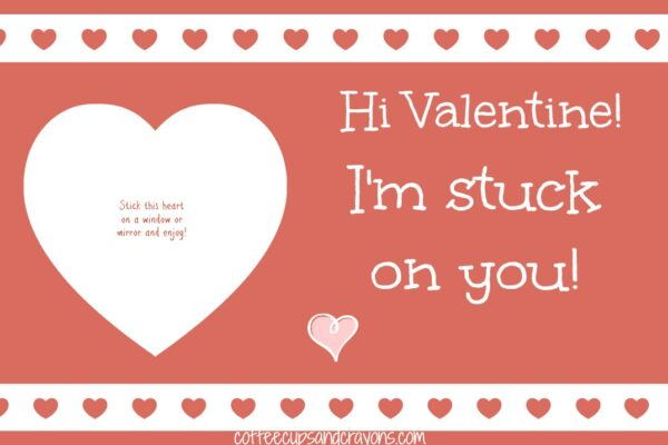 Red Stuck on You Valentine for Kids: Free Printable Card