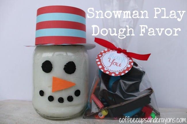 Playdough Snowman Party Favor