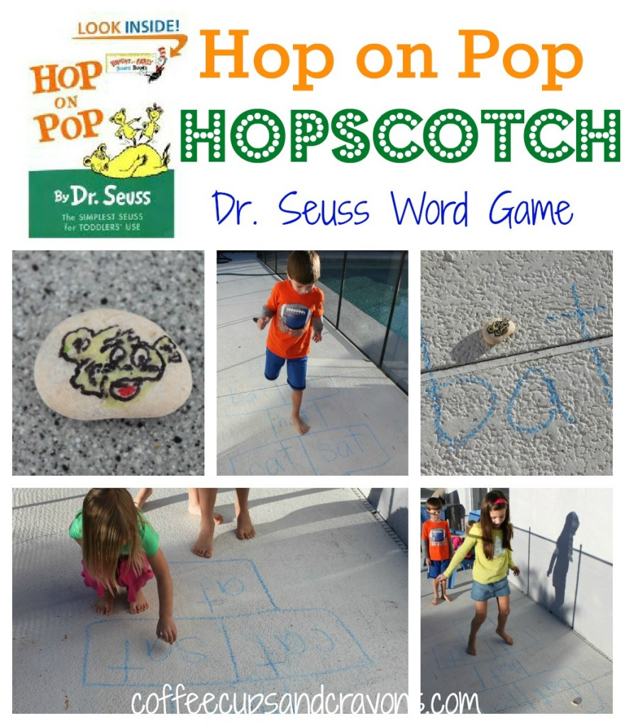 Hop on Pop Hopscotch  ~ Dr Seuss activities for kids {Weekend Links} from HowToHomeschoolMyChild.com