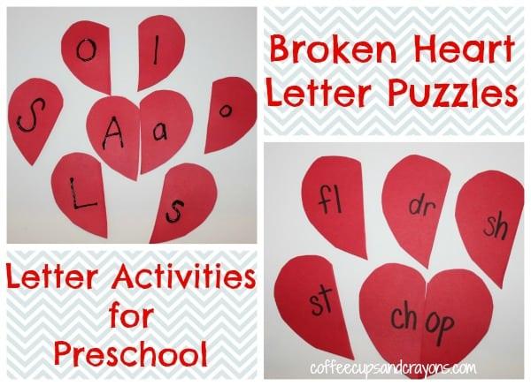 letter activities for preschool: heart puzzles