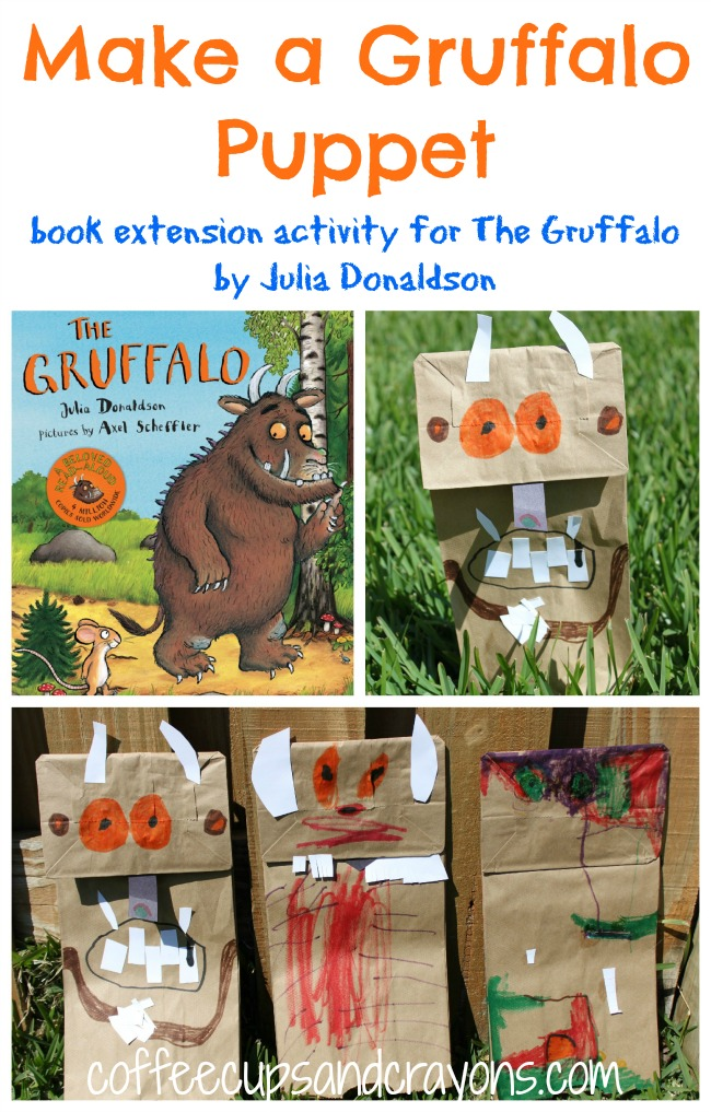 Gruffalo puppet kids book activity coffee cups and crayons for Children s craft books