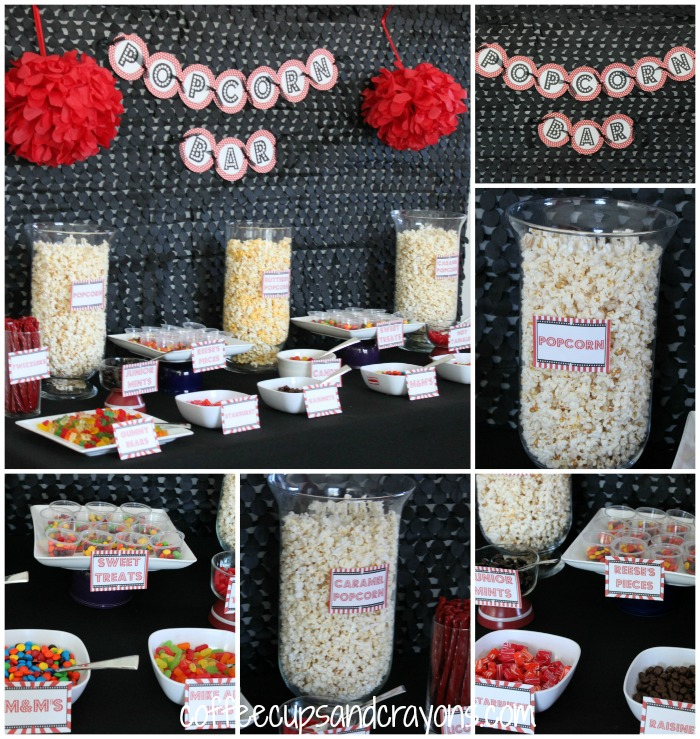 Popcorn Bar for a Movie Star Party