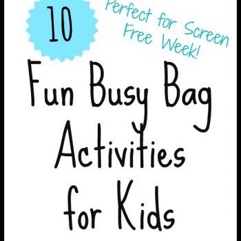 Screen Free Week Activities: Busy Bags!