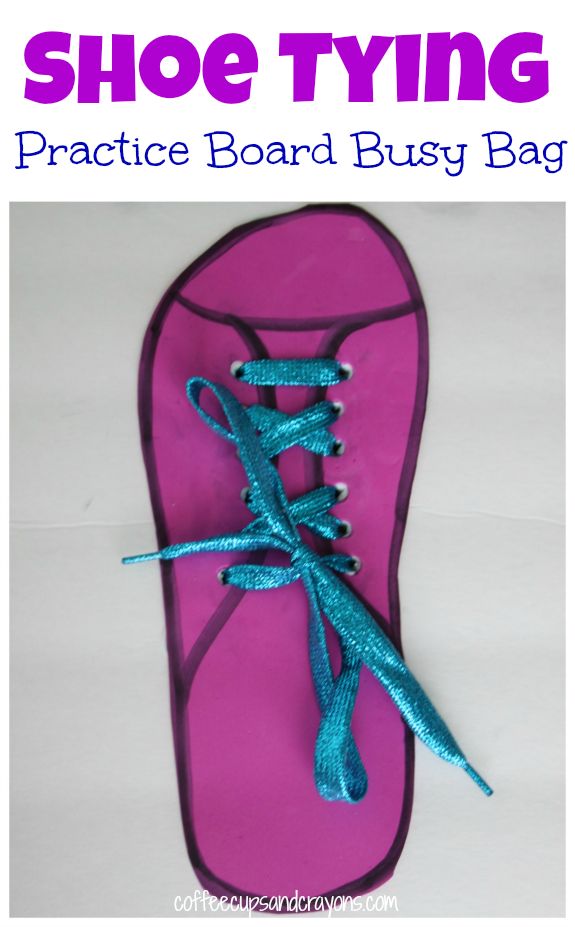 Teach Kids How to Tie a Shoe with a Shoe Tying Practice Board Busy Bag!