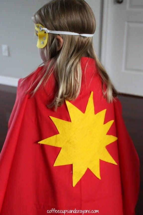 Easy no sew super hero dress up costume!