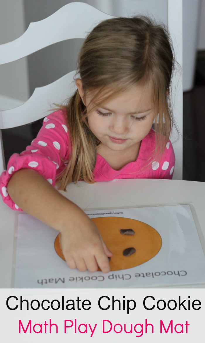 Chocolate Chip Cookie Math Play Dough Mat! A hands on math busy bag for kids.