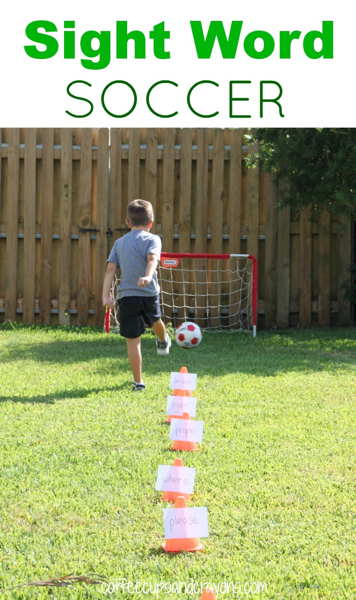 Sight Word Soccer! A fun way to move and learn while you are practicing sight or spelling words!