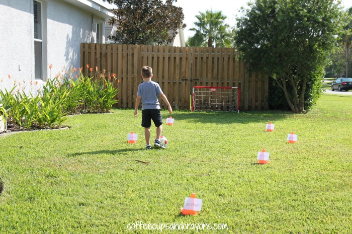 Sight Word Soccer Game!  Practice reading sight words while you dribble, great for kindergarten and first grade kids.