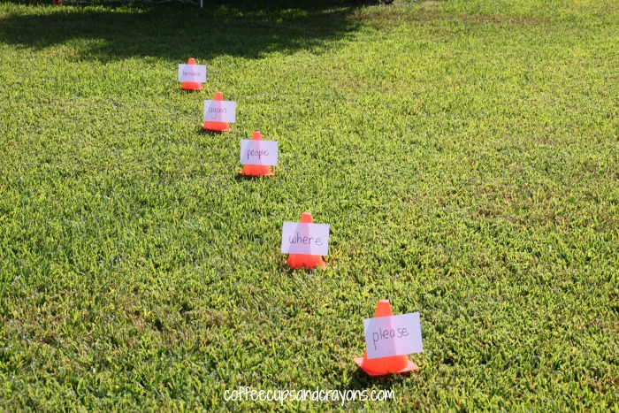 Use your soccer ball to practice spelling or sight words!