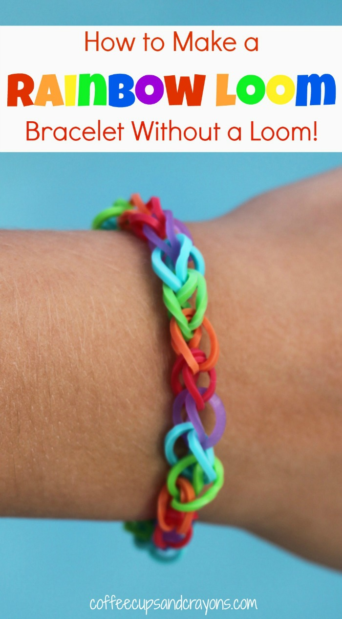 How to make rainbow loom bracelets by hand coffee cups for Rubber band crafts without loom