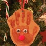 DIY Reindeer Handprint Ornament Craft for Kids