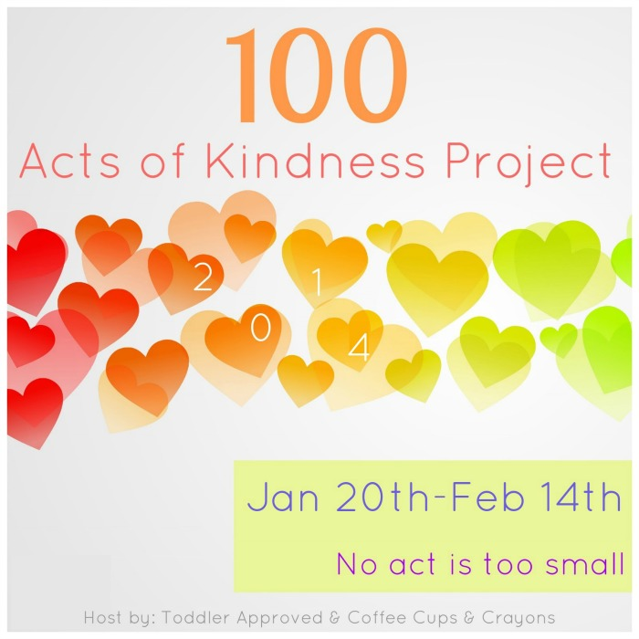 100 Acts of Kindness Project 2014! Join in the 4 week kindness challenge with Toddler Approved and Coffee Cups and Crayons and spread some kindness with your family.  There will be newsletters and posts ideas to help inspire you to do good this year.