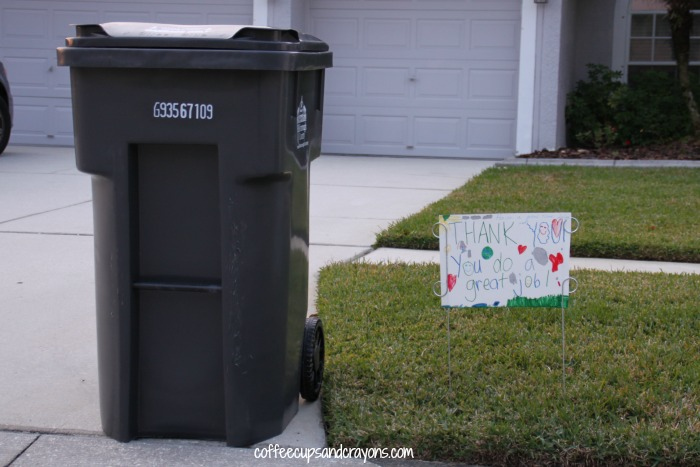 Act of Kindness for Kids--Thank You Sign for Garbage Collectors