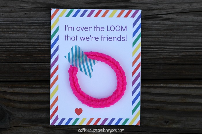Printable Rainbow Loom Valentines