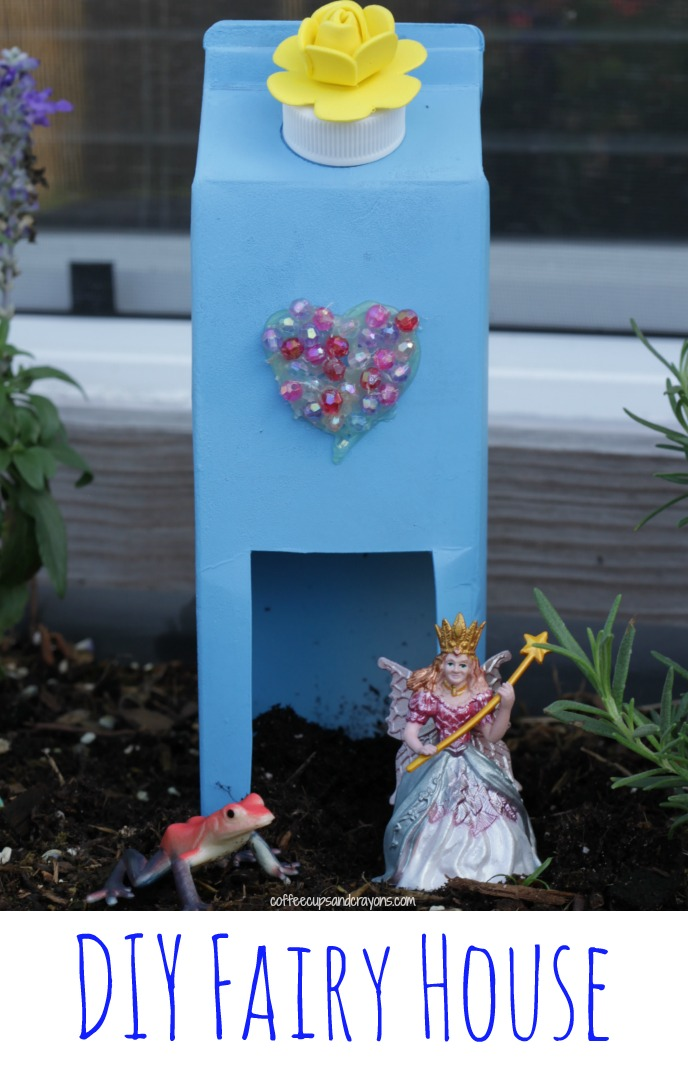 Upcycled fairy house craft coffee cups and crayons for Fairy crafts for toddlers