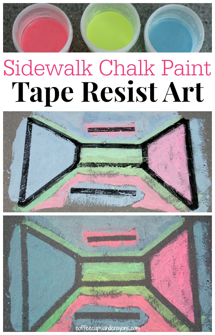 Sidewalk Chalk Paint Activity...Make Tape Resist Art!