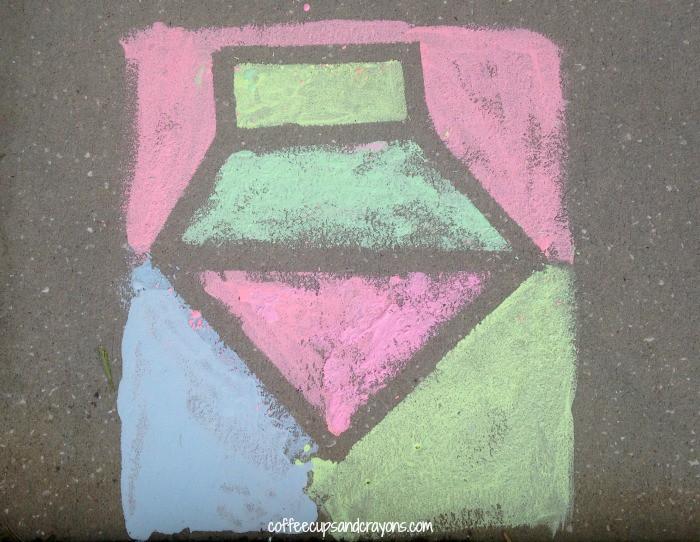 Sidewalk Chalk Paint Tape Resist Art Activity for Kids!