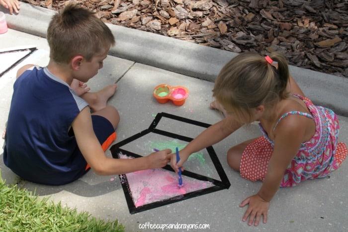 Tape Resist Art with Sidewalk Chalk Paint
