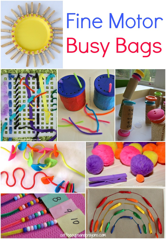 Fine motor busy bags for kids coffee cups and crayons for Four year old fine motor skills