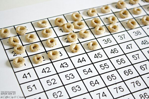Kindergarten Math Counting 1-100 with Cheerio Learning Activity
