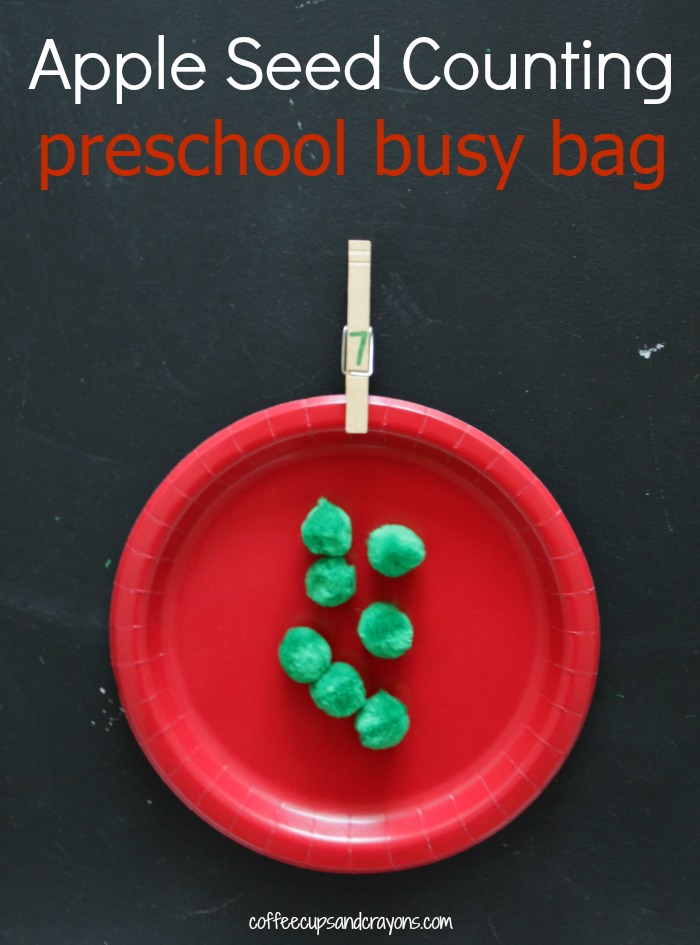 Apple Themed Preschool Busy Bag to Practice Counting!