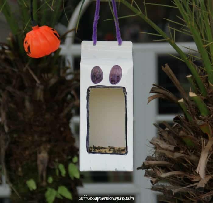 Halloween Ghost Bird Feeder Craft for Kids