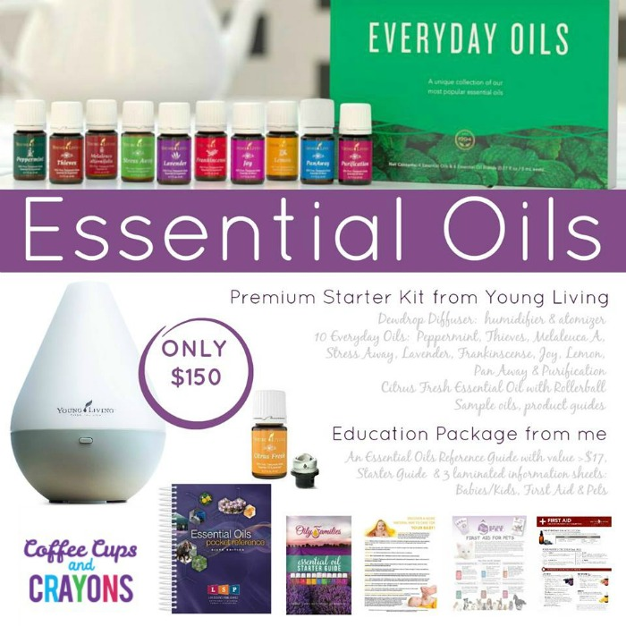 Essential Oils Starter Kit on Coffee Cups and Crayons