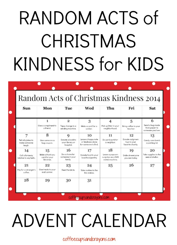 ... –>> Random Acts of Christmas Kindness Printable Calendar for Kids