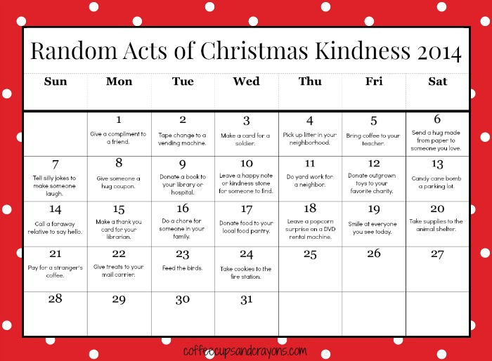 Free Printable Random Acts of Christmas Kindness Calendar for Kids!