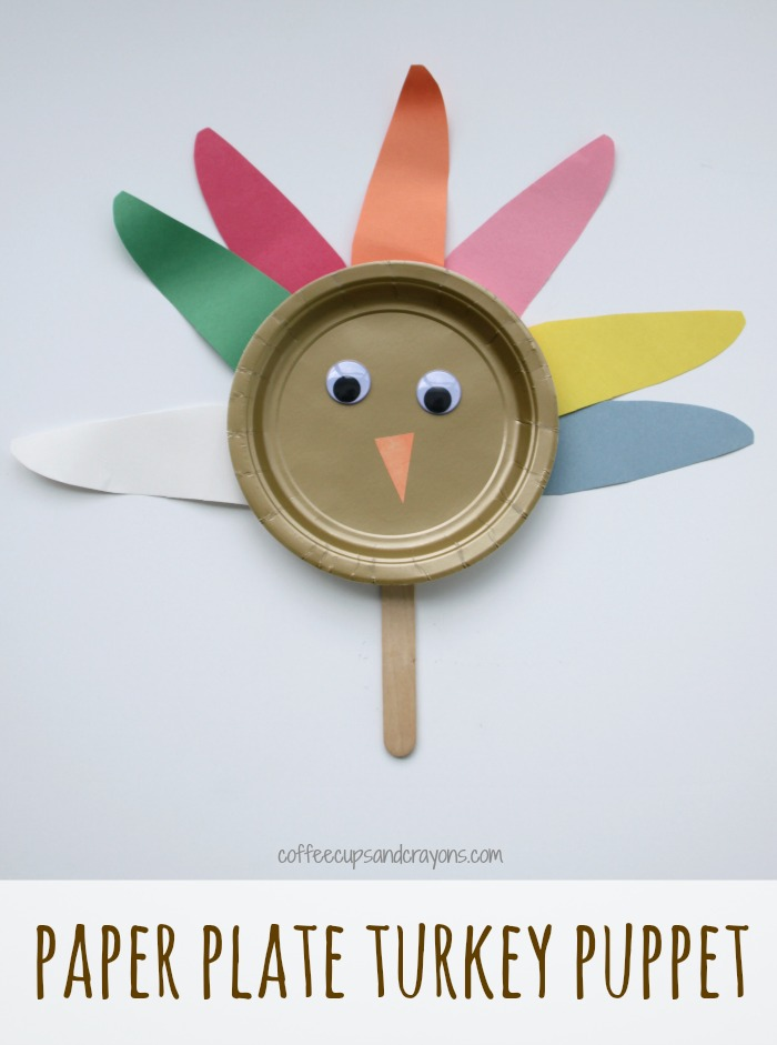 Simple Paper Plate Turkey Puppet Craft for Thanksgiving