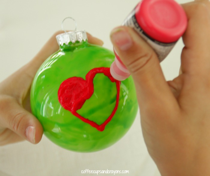 Grinch's Heart Christmas Ornament | Coffee Cups and Crayons