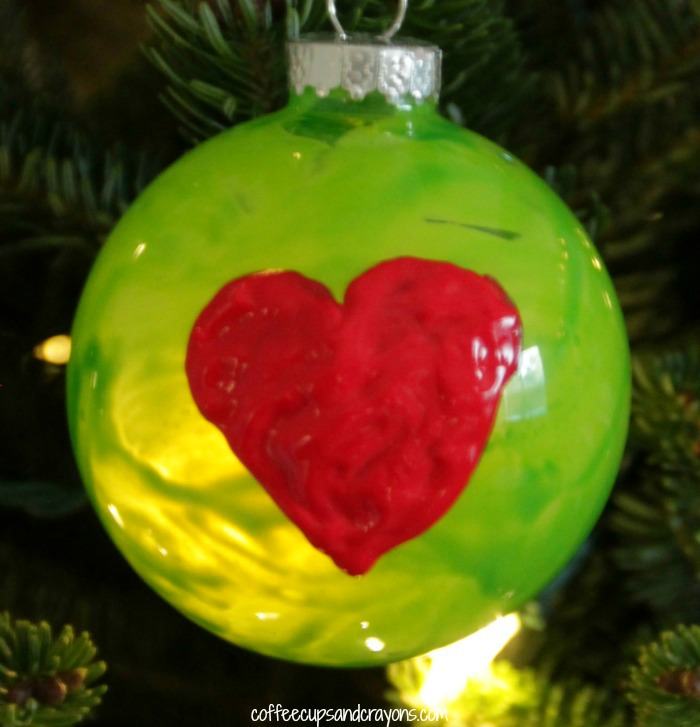 Homemade Grinch Christmas Ornament Craft for Kids