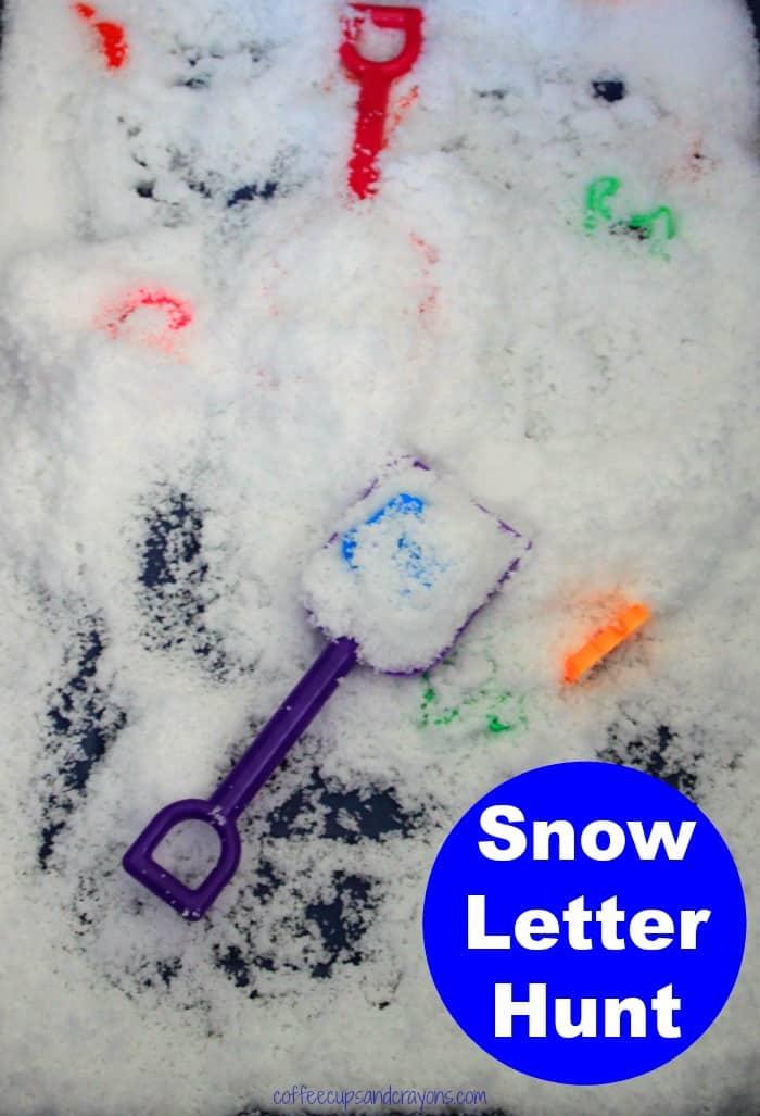 Preschool Letter Hunt! Dig for letters indoors in Insta-Snow!