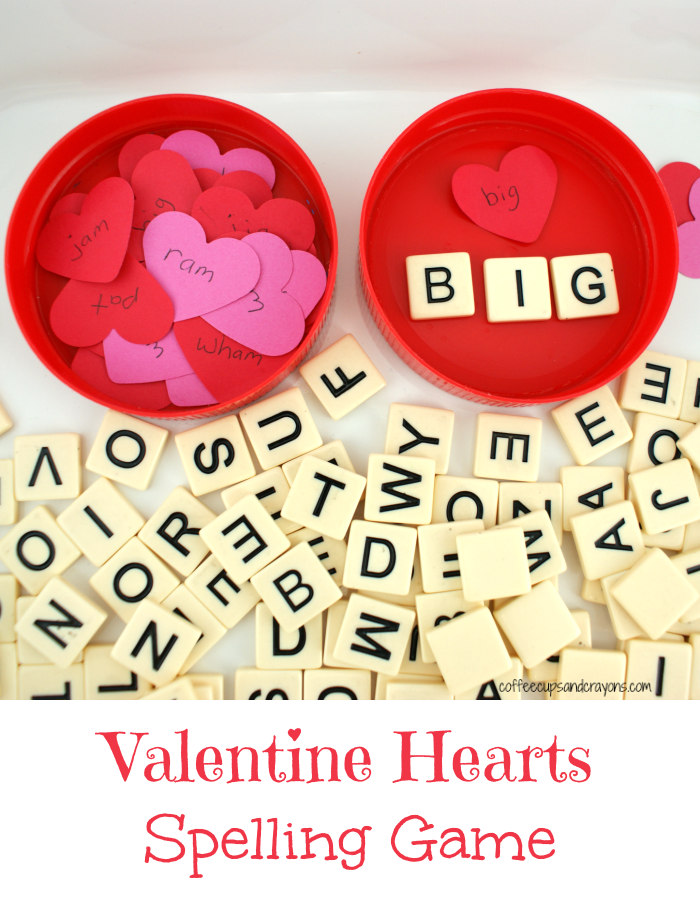 valentine hearts spelling game coffee cups and crayons. Black Bedroom Furniture Sets. Home Design Ideas