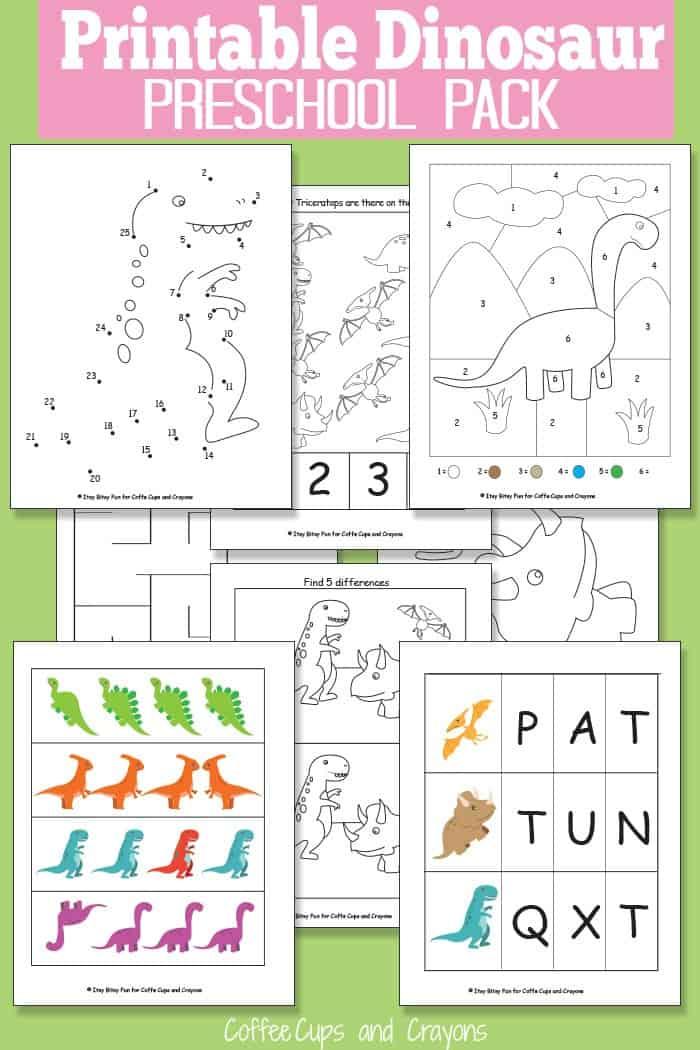 Для печати динозавр пакет для детей дошкольного возраста