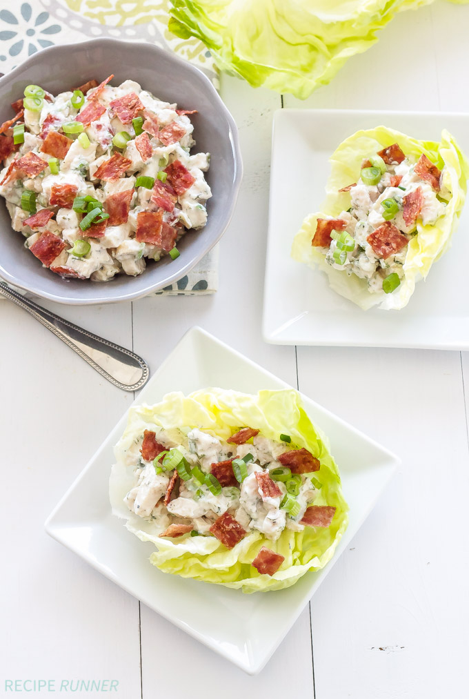 Chicken, Bacon, Ranch, Lettuce Cups | Delicious and light ranch flavored chicken salad with bacon served in lettuce cups! | @reciperunner