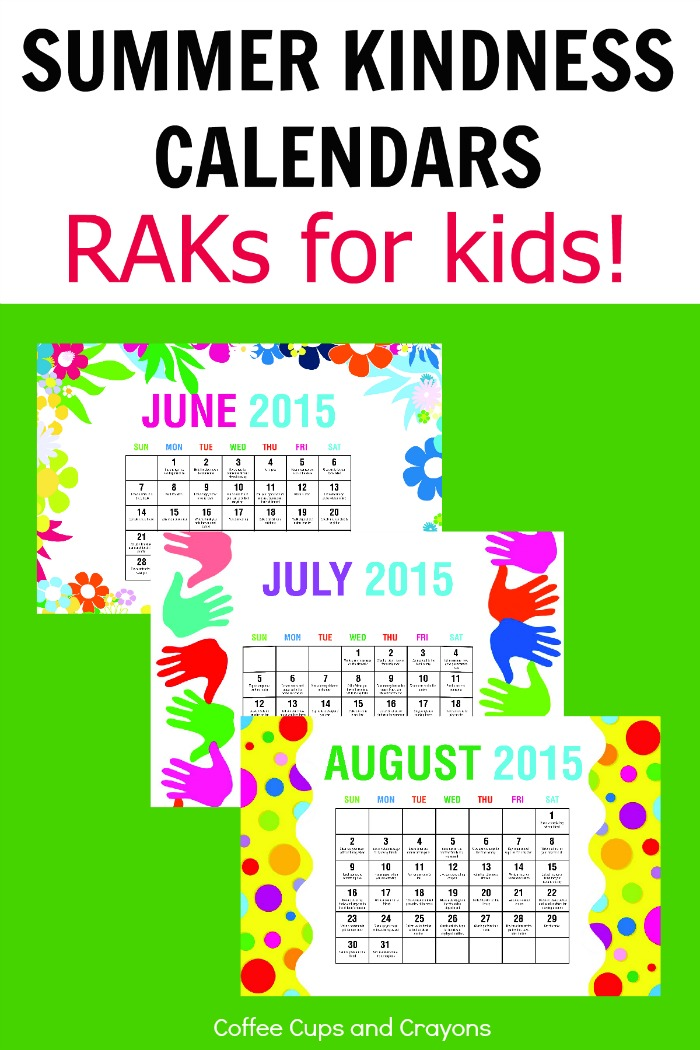 Free Printable Summer Kindness Calendars for Kids!