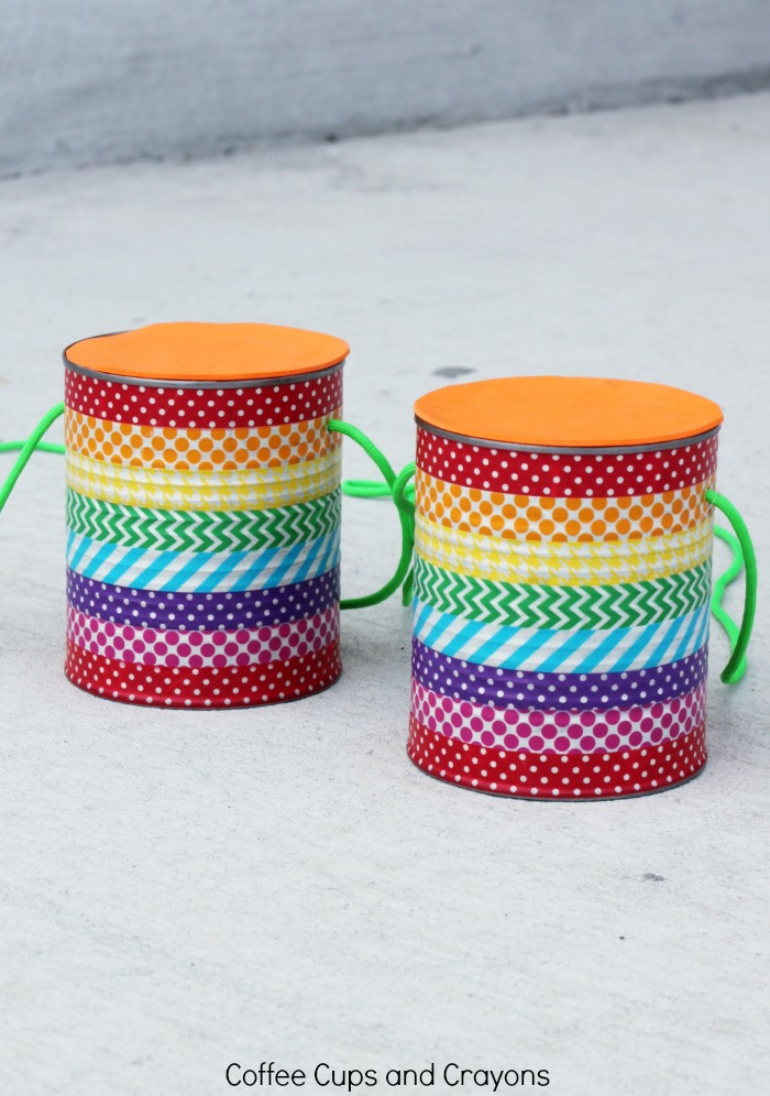 Diy tin can stilts coffee cups and crayons for Tin cans for crafts