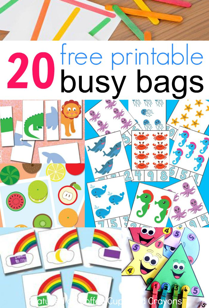 20 free printable busy bags for kids that you can put together in less than 10