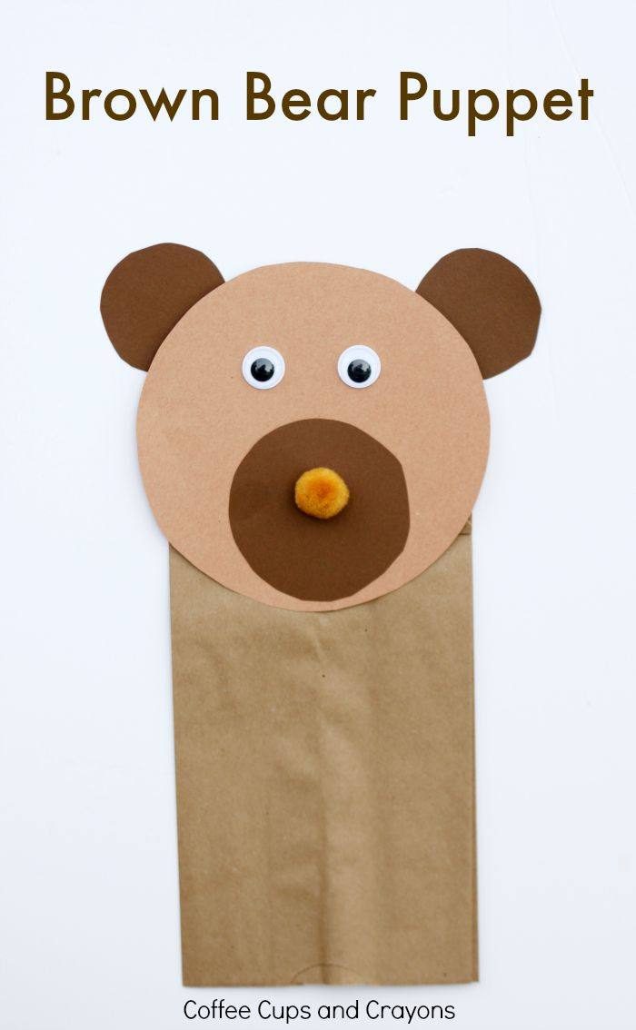make your own teddy bear template - brown bear puppet craft coffee cups and crayons